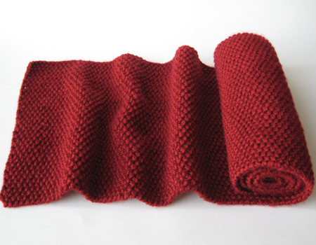 Red Seed Stitch Scarf